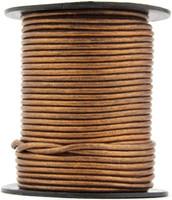 Bronze Metallic Round Leather Cord 1.0mm 25 meters