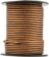 Bronze Metallic Round Leather Cord 2.0mm 10 meters (11 yards)