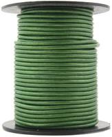 Green Metallic Round Leather Cord 2.0mm 10 Feet