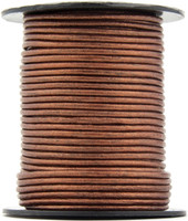 Copper Metallic Round Leather Cord 1.0mm 10 meters (11 yards)