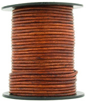Brown Distressed Red Round Leather Cord 1.0mm 25 meters