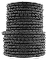 Black Natural Dye Genuine Round Bolo Braided Leather Cord 5 mm 1 Yard