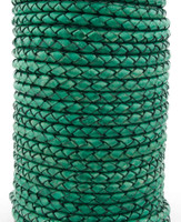 Sea Green Natural Dye Genuine Round Bolo Braided Leather Cord 5 mm 1 Yard
