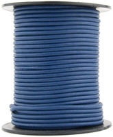 Blue Natural Dye Round Leather Cord 1.0mm 100 meters