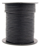 Black Round Leather Cord 2.0mm 10 Feet