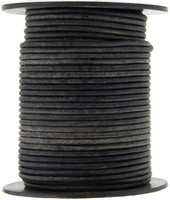 Gray Distressed Natural Dye Round Leather Cord 2.0mm 25 meters