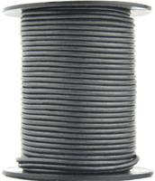 Gunmetal Metallic Gray Round Leather Cord 1.0mm 25 meters
