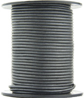 Gunmetal Metallic Gray Round Leather Cord 1.0mm 100 meters