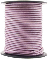 Lilac Metallic Round Leather Cord 1.5mm 10 Feet