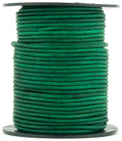 Sea Green Natural Dye Round Leather Cord 1.5mm 10 Feet