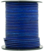 Royal Blue Natural Dye Round Leather Cord 1.5mm 10 Feet