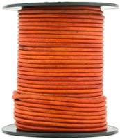 Orange Natural Dye Round Leather Cord 1.5mm 10 Feet