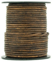 Brown Antique Round Leather Cord 2.0mm 100 meters