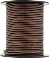 Brown Metallic Round Leather Cord 3.0mm 10 Feet
