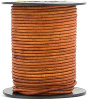 Brown Light Natural Dye Round Leather Cord 3.0mm 10 Feet
