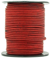 Red Natural Dye Round Leather Cord 2.0mm 50 meters