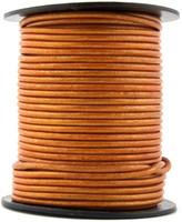Orange Metallic Round Leather Cord 1.5mm 50 meters