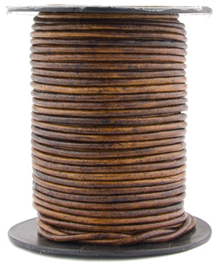 Brown Antique Natural Dye Round Leather Cord 1.5mm 50 meters
