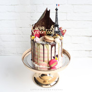 Paris themed drip cake