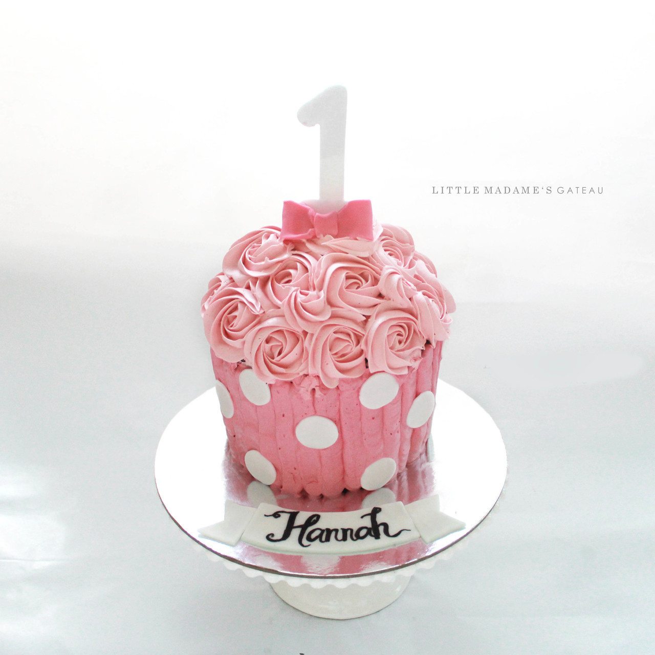 Phenomenal Pink Giant Cupcake With Polkadot Personalised Birthday Cards Cominlily Jamesorg
