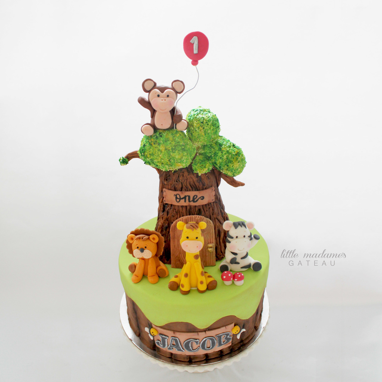 Jungle Themed Animal Birthday Cake