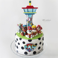 paw patrol tower and pups cake