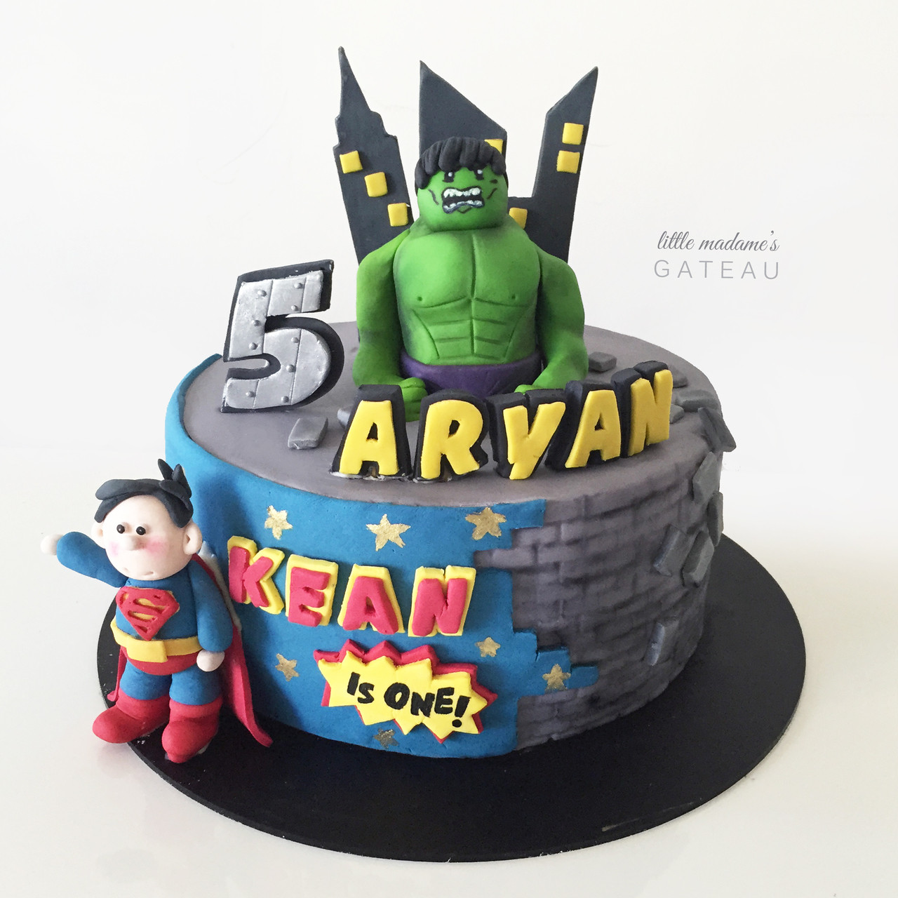 Hulk And Superman Superhero Kids Birthday Cake