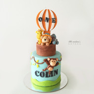hot air balloon safari kids birthday cake