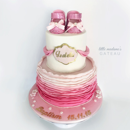 babyshoes baptism kids birthday cake