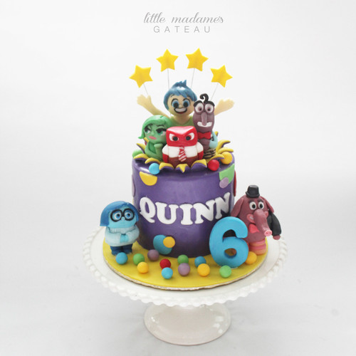 inside out themed kids birthday cake