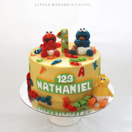 elmo cookie monster sesame street fondant cake