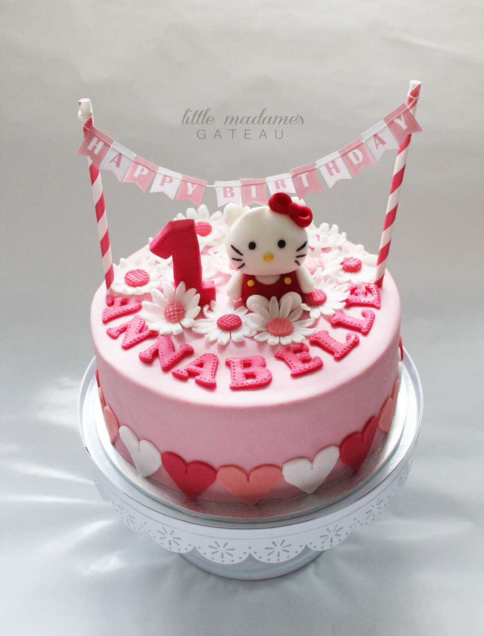 Strange Pink Hello Kitty Kids Birthday Cake Funny Birthday Cards Online Inifodamsfinfo