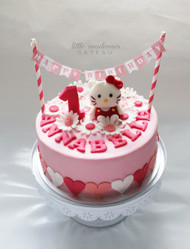 Pink hello kitty kids birthday cake