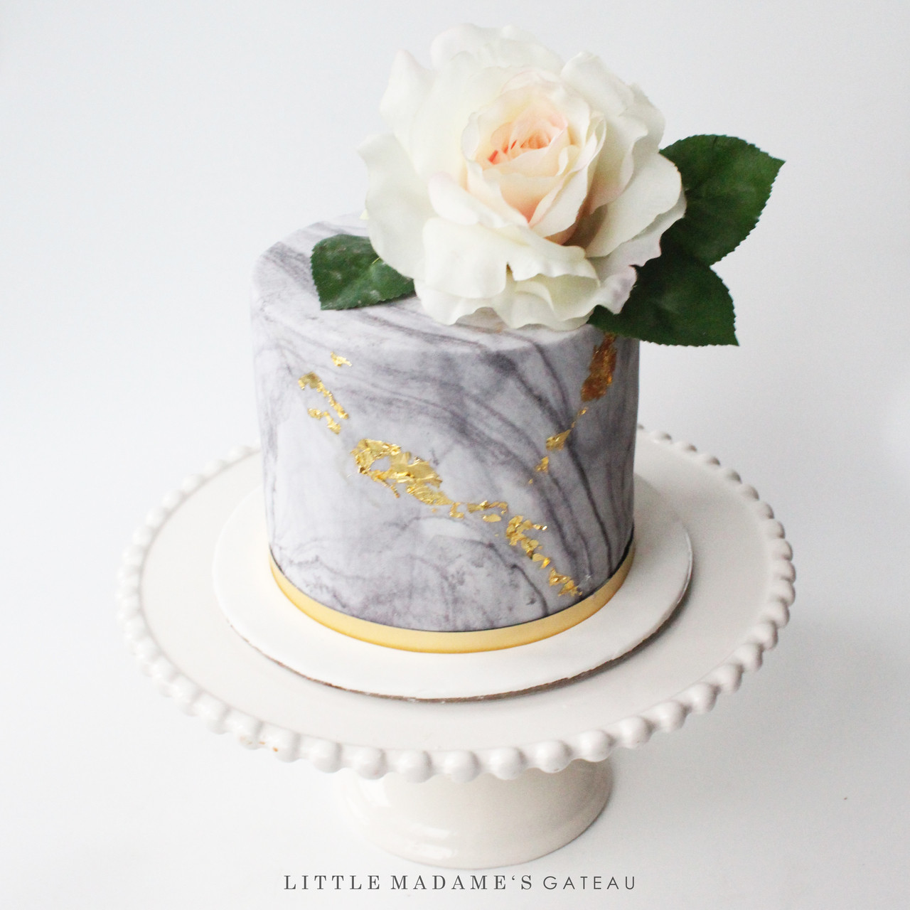 Magnificent Marble Fondant Cake With Rose Funny Birthday Cards Online Fluifree Goldxyz