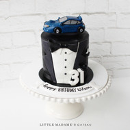 car and tuxedo cake