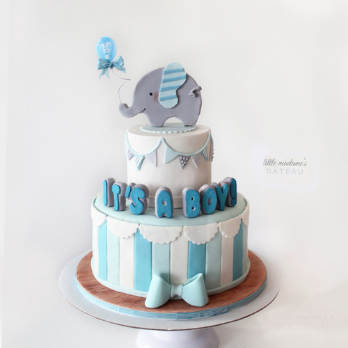 blue elephant baby shower boy cake