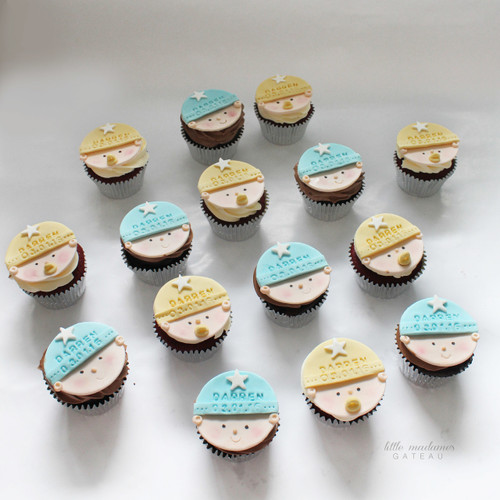 blue yellow cupcake topper