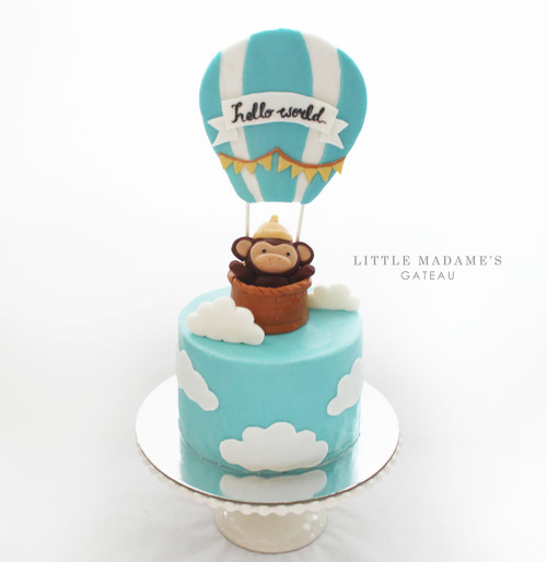 monkey hot air balloon baby shower cake