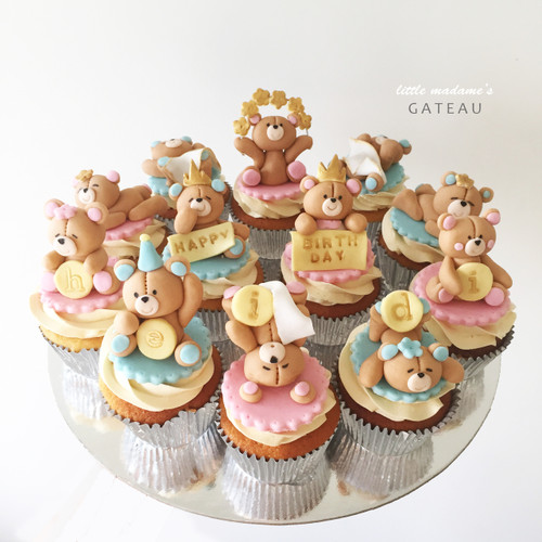 baby bears birthday cupcakes