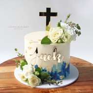 fresh flower buttercream baptism cake
