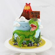 dinosaur themed birthday cake