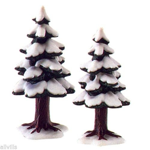 Porcelain Pine Trees set of 2