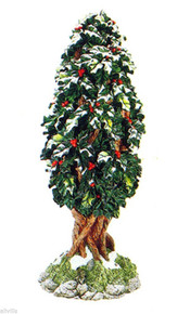 VILLAGE HOLLY TREE #52630 Dept 56 RETIRED SNOW VILLAGE VERY DETAILED