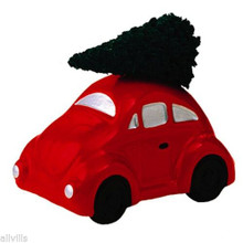 AUTO WITH TREE # 50555 RED VOLKSWAGON BUG DEPT 56 RETIRED SNOW VILLAGE ACCESSORY