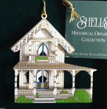 WHITE COTTAGE OR017 OAK BLUFF MA 1996 Shelia's 3D Historical Ornament