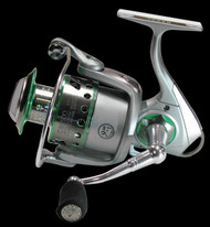 TEBEN CBS 400FD FRONT DRAG SPINNING REEL MEDIUM SIZE 4000 9+1 ball bearings (BB) Capacity: 160m of 0.35 mm Aluminium Spool, Spare Aluminium spool Micro adjustable, multi-disc front drag Gear Ratio: 4.5:1