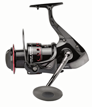 KATUSHA WELS STROM 7004FD SPINNING REEL/ Front-Drag/ BIG-PIT SIZE 7000/ 3+1 ball bearings (BB)/ Capacity: 320m of 0.35 mm/ Aluminium Spool/ Micro-metric adjustable front brake/Gear Ratio: 4.5:1