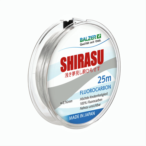 BALZER - SHIRASU HIGH QUALITY FLUOROCARBON LINE 0.18mm - 25m Spool