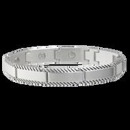 Sabona Brushed Stainless Rope Edge Magnetic Bracelet