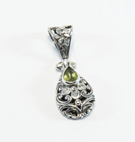 Genuine Peridot with Filigree Floral Designs